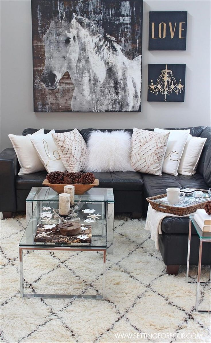Living Room Painting Black Leather Sofa White Cushion Sofa Carpet Coffee Table Candle Blanket Easy Ways To Decor A Rustic Living Room