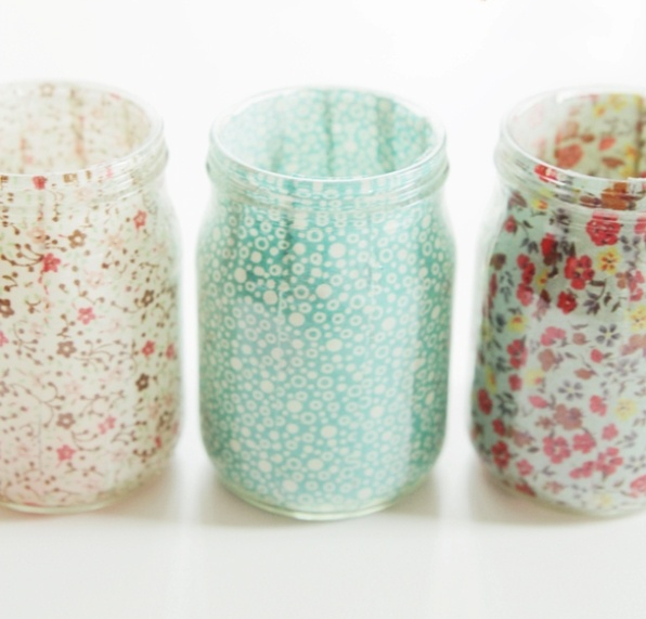 Fabric Covered Mason Votives