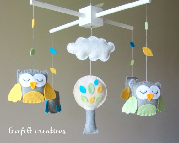 Baby Crib Mobile  Baby Mobile  Owl Mobile  Custom by LoveFeltXoXo, $97.00