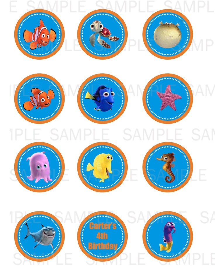 Printable Finding Nemo Cupcake Toppers By