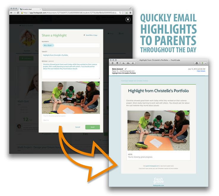 With FreshGrade you can quickly email parents highlights about what is going on with their child during the day. Great way to show parents what's happening in the classroom without creating extra work for the teacher.