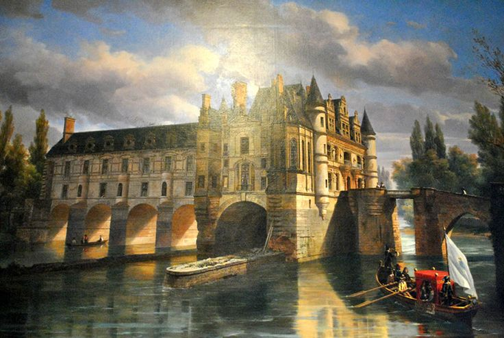 A painting of the chateau de Chenonceau that hangs in the castle is evocative of how the castle looked in earlier times.