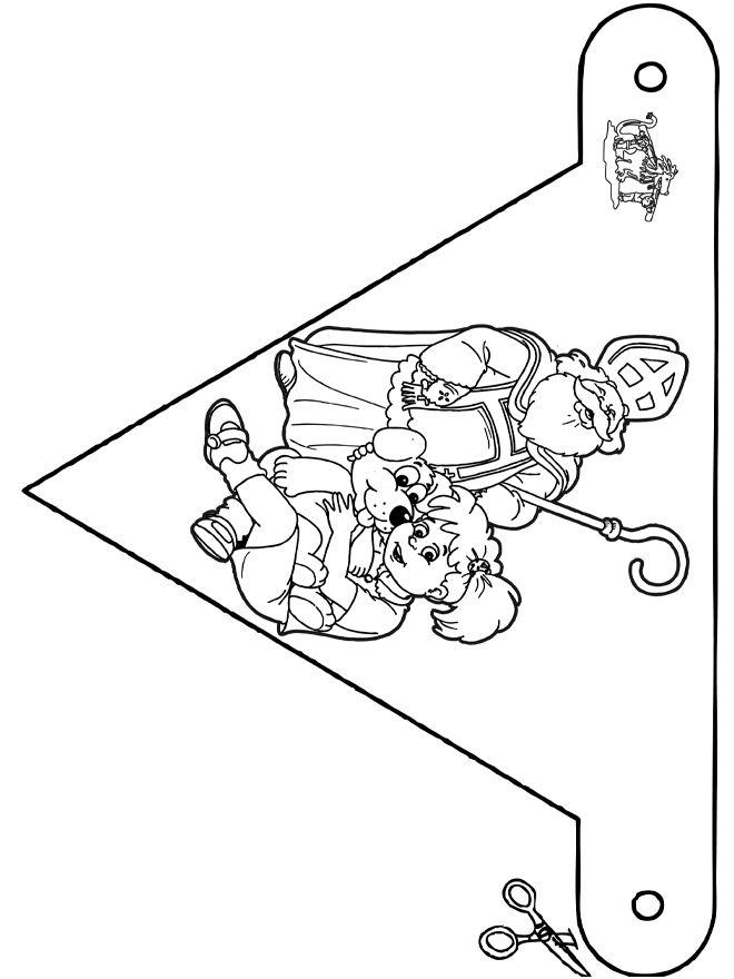 Kleurplaten Sinterklaas Vlaggetjes.Kleurplaat Sinterklaas Peuters Vlaggetjes Kleurplaat Sinterklaas