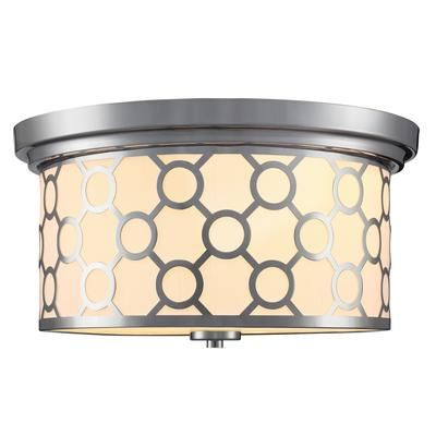 15 best lighting images on pinterest brushed nickel building and home decorators collection 2 light flush mount ceiling light 15 inch chrome with white fabric shade home depot canada aloadofball Image collections