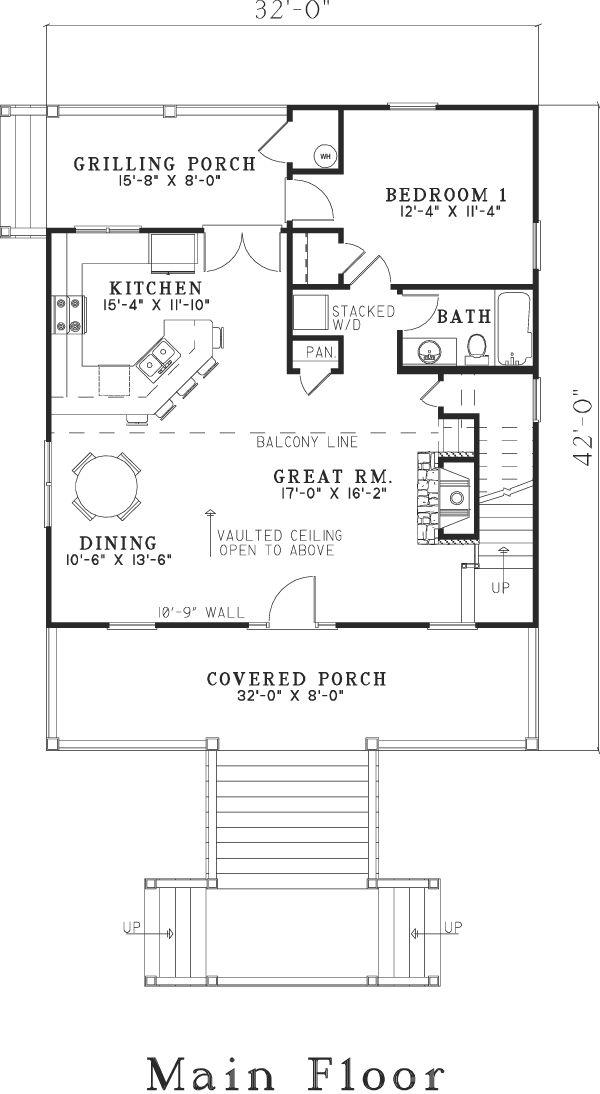 First floor plan of house plan 82203 outdoor decor for 05 buckhead floor plans