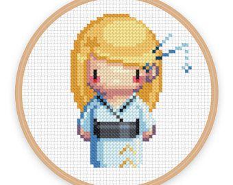 GEISHA GIRL MIZUIRO : un pixel art comptés au point de croix - téléchargement numérique - fichier pdf imprimable.