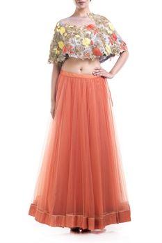 Show details for Floral embroidery cape lehenga                                                                                            Designer: Anushree Agarwal