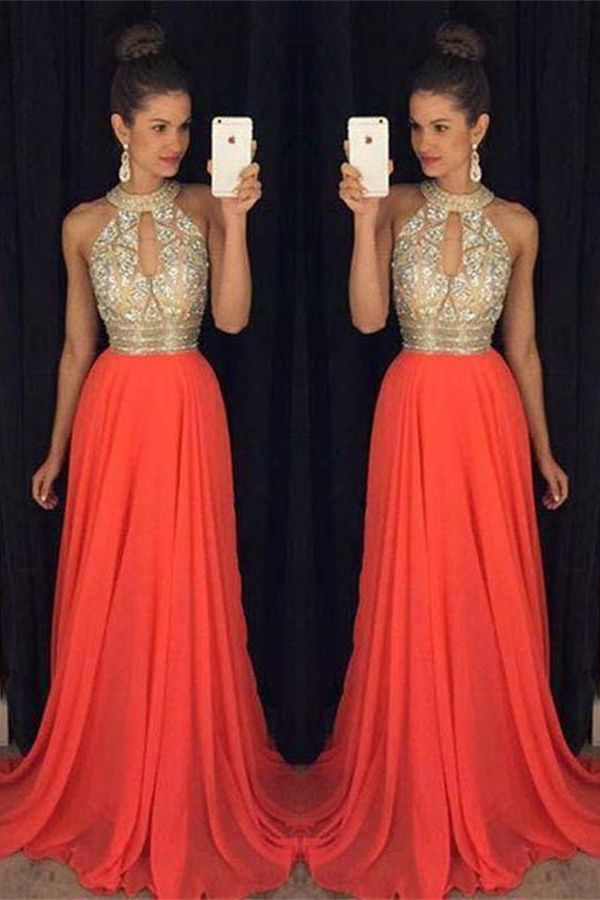 Chiffon Dresses,Prom Dresses For Teens,A-line Prom Dresses,Halter Prom Dresses,Prom Dresses For Teens,Red Prom Gowns,Beaded Prom Dress,Party Dresses