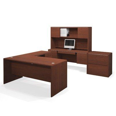 Bestar Fall Creek Entire Collection Kit in Bordeaux by Bestar. $1668.99. 47852-39  Features: -Executive desk, hutch, credenza, lateral file, return, and keyboard shelf.-Material: Laminate.-Durable 1'' commercial grade work surface.-Resist scratches, stains and wears.-Deluxe 0.25 cm PVC edge.-Executive desk efficient wire management and full modesty panel.-Unit meets or exceeds ANSI / BIFMA performance standards.-Ready to assemble. Color/Finish: -Finish: Milk Cho...