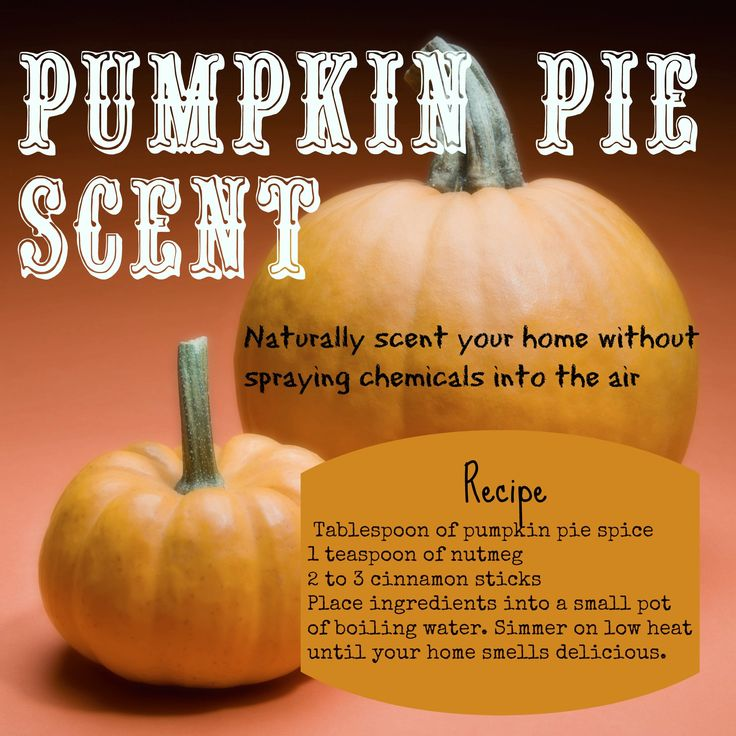 Scent your home with the smell of Pumpkin Pie without polluting your home's air quality with heavy sprays and chemicals. Tablespoon of pumpkin pie spice 1 teaspoon of nutmeg 2 to 3 cinnamon sticks Place ingredients into a small pot of boiling water. Simmer on low heat until your home smells delicious.