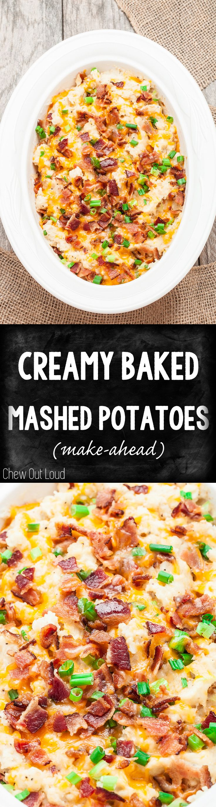 Make-Ahead Creamy Baked Mashed Potatoes! Perfect for the busy nights and holidays. Easy and so irresistible. #holidays #potatoes #side