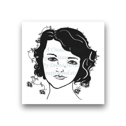 INSTANT download Flowers in her Hair Digital Stamp Image FACE for your Scrapbooking, card making, ATC's, Art, Mixed Media by ACreativeNeed on Etsy