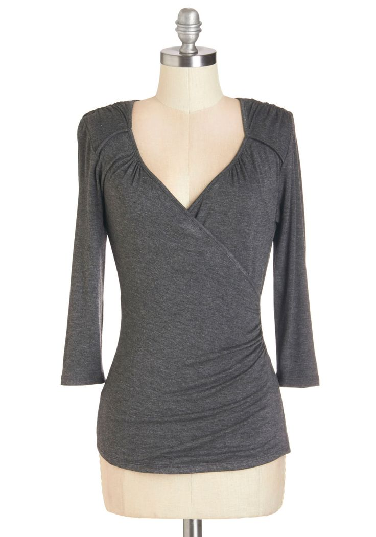 Seemingly Sew Top in Charcoal - 3/4 Sleeves. Like the paintings at your neighborhood art show, your charcoal top is simple at first glance, but a closer look reveals the mastery of its surplice neckline, flattering seams, and subtle ruching. #grey #modcloth