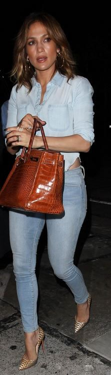 Jennifer Lopez in Purse – Hermes  shoes – Christian Louboutin  Shirt – Mother