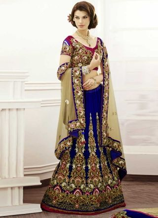 Alluring Blue With Light Brown Latest Designer Bridal Lehenga Choli http://www.angelnx.com/Lehenga-Choli