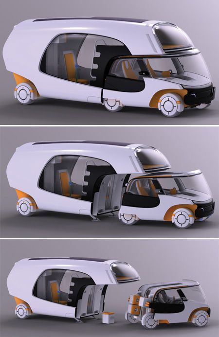 Colim Concept Caravan is the combination of a camper and a car which allows you to take both for a drive or detach the car part to go solo. Colim can comfortably house two people (max. four persons) and the mobile home is created such that it can be personalised according to the requirements of the user.