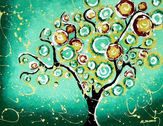 Giclee Art Print Turquoise Tree of Life from hjmart on etsy