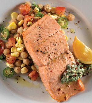 Olive Oil–Poached Salmon with Yogurt Chimichurri & Tomato Corn Salad ...