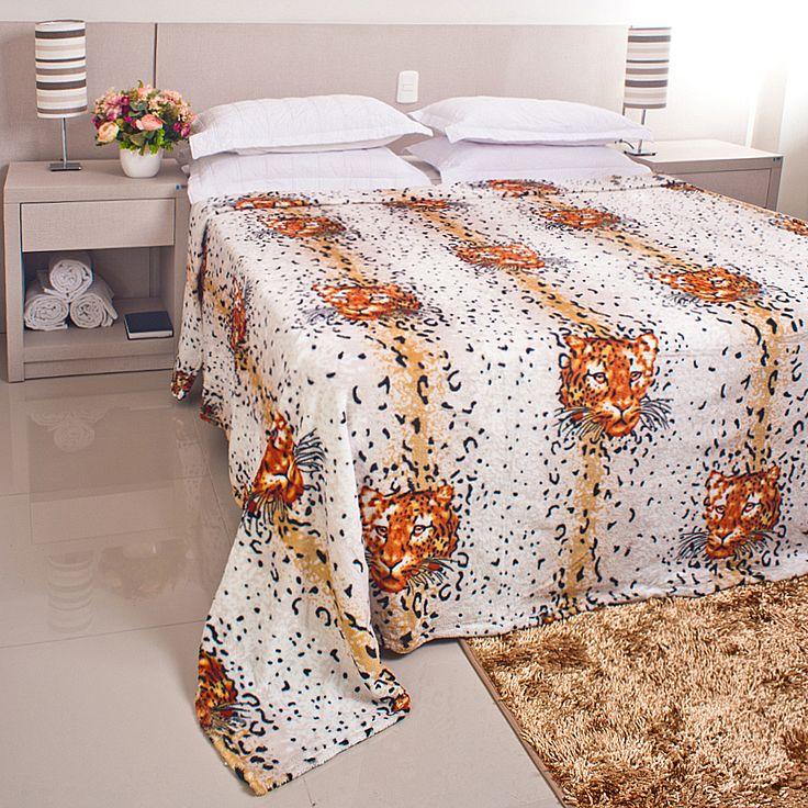 Cobertor / Manta Microfibra Maya Animal Print Branco Onça - Casa Baher