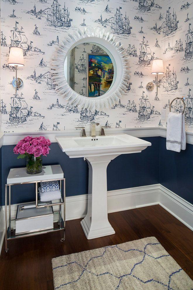 Powder Room Chair Rail Design Wall Color Is Benjamin Moore Newburyport Blue And The Coastal Wa Classic White Kitchen Coastal Powder Room Powder Room Wallpaper