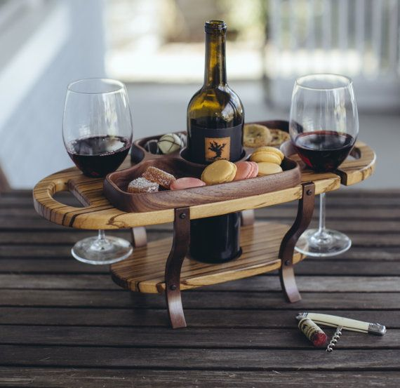 Wood wine caddy, wine bottle holder, wine glass holder, serving tray, table wine rack, cheese tray wine lover gift for dad, gift for men