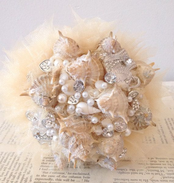 Custom Made Shell and Bead Bouquet by KinksCreations on Etsy, $100.00