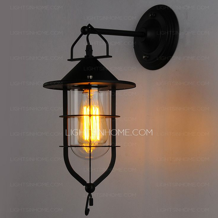 Industrial Mission Type Wrought Iron Painting Nautical Wall Sconce