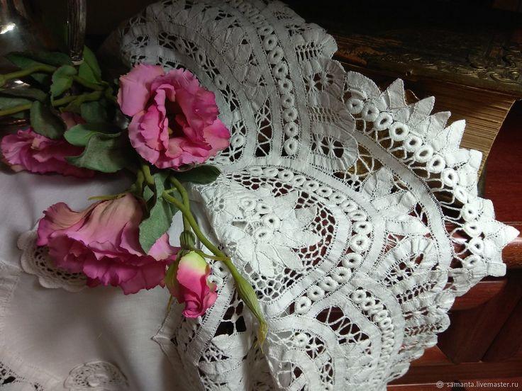 Кружевная скатерть. Винтажный текстиль. Баттенбергское кружево