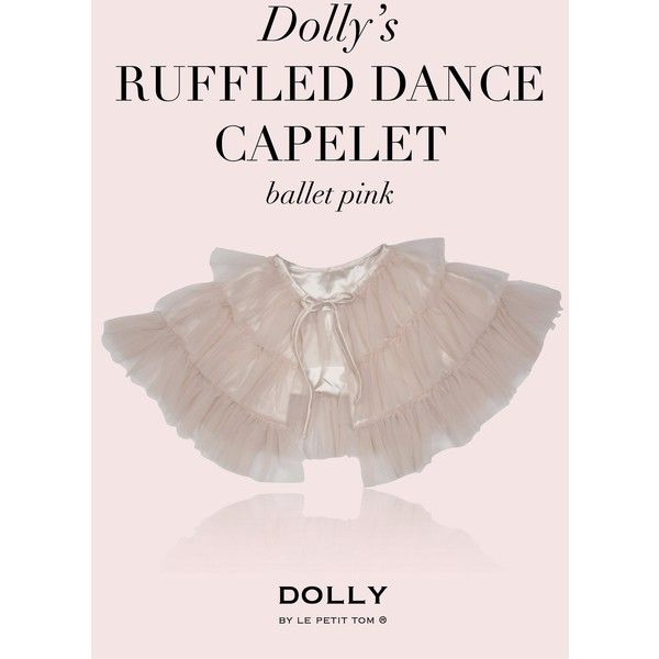 DOLLY by Le Petit Tom RUFFLED CHIFFON DANCE CAPELET ballet pink ❤ liked on Polyvore featuring dresses, petite party dresses, pink chiffon dress, chiffon party dresses, ruffle dress and going out dresses