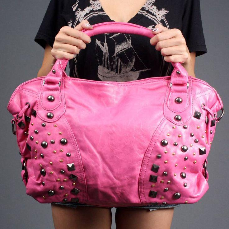 Fuchsia Pink Studded Large Women Hobo Shoulder Purse Handbag