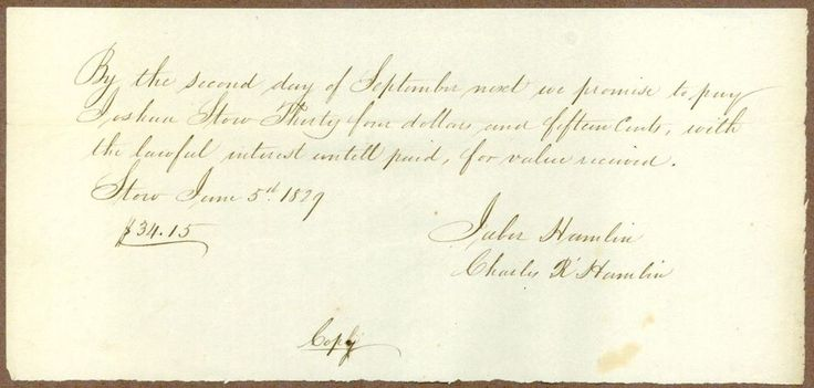 An early American manuscript document, a promissory note from John and Charles R. Hamlin to Joshua Stow (1762-1842) dated June 5, 1829. The location is not shown, however Joshua Stow was from Middlefield, Connecticut. | eBay!