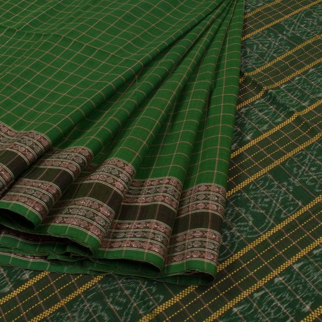 Buy online Handwoven Green Ikat Suta Luga Cotton Saree With Checks 10013948