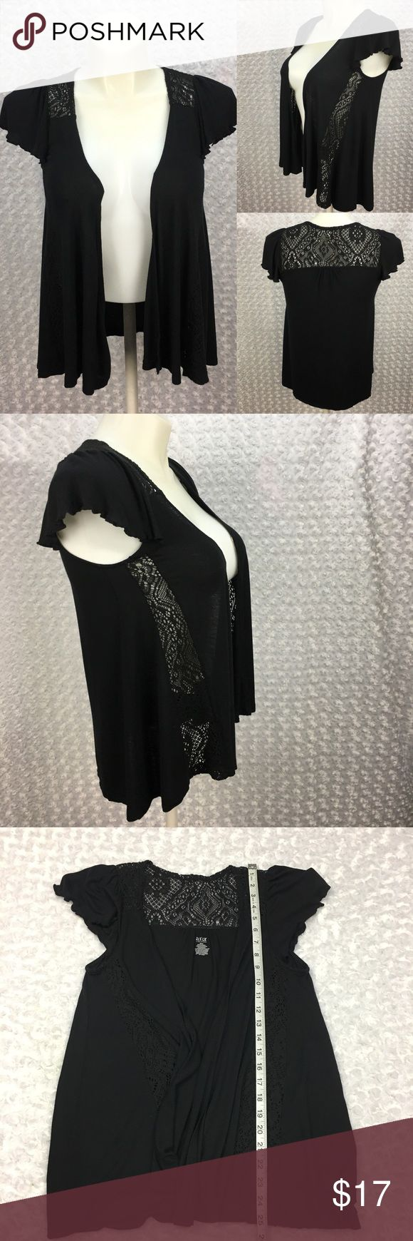 Black Open Front Shortsleeve Shrug Lace Accents Ana a new approach Black Open Front Flowy Shortsleeve Shrug Knitted Lace Accents  Size: Womens Small, SEE PHOTOS FOR MEASUREMENTS  Condition: There is very light piling in areas from light wear/washing. SEE PHOTOS  * This listing is for ONE (1) Top *   * See photos for measurements and more details *  Please note: Color may vary slightly due to display screen calibrations.  [A-19] Ana a New Approach Sweaters Shrugs & Ponchos