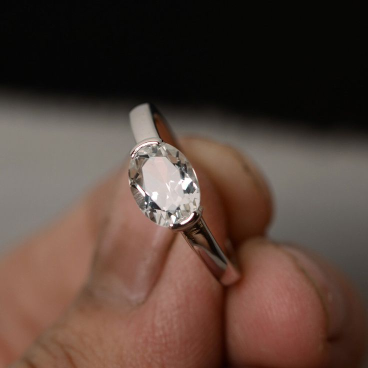 Natural White Topaz Ring Oval Cut Ring Sterling Silver Prong Setting Ring by KnightJewelry on Etsy https://www.etsy.com/listing/241318516/natural-white-topaz-ring-oval-cut-ring