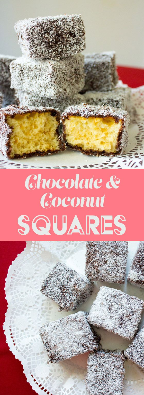 Chocolate coconut squares with delicious chocolate and coconut topping and a spongy, vanilla-flavored cake.