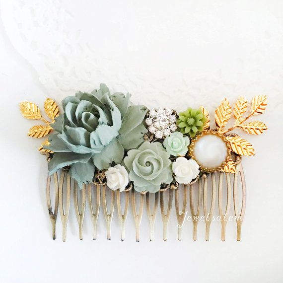 Wedding Hair Comb Sage Green Gold Leaf Bridal Hair by Jewelsalem