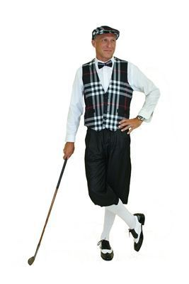 Ultimate Golf Knickers Outfit includes Black Plaid Vest, Cap and Bow Tie with Silk Touch Solid Black Golf Knickers. #GolfKnickers