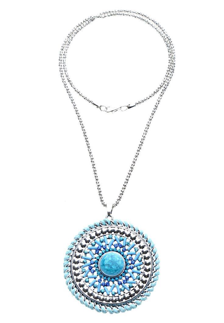www.sayila.nl - Metalen halsketting ± 70cm met Bohemian Style metalen hanger/bedel rond met glaskralen, kunstsuede, natuursteen plaksteen en strass ± 7cm