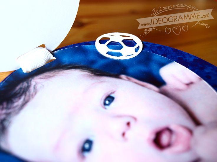 Faire-part de naissance bleu #fairepart #naissance #foot #découpé #ideogramme.net