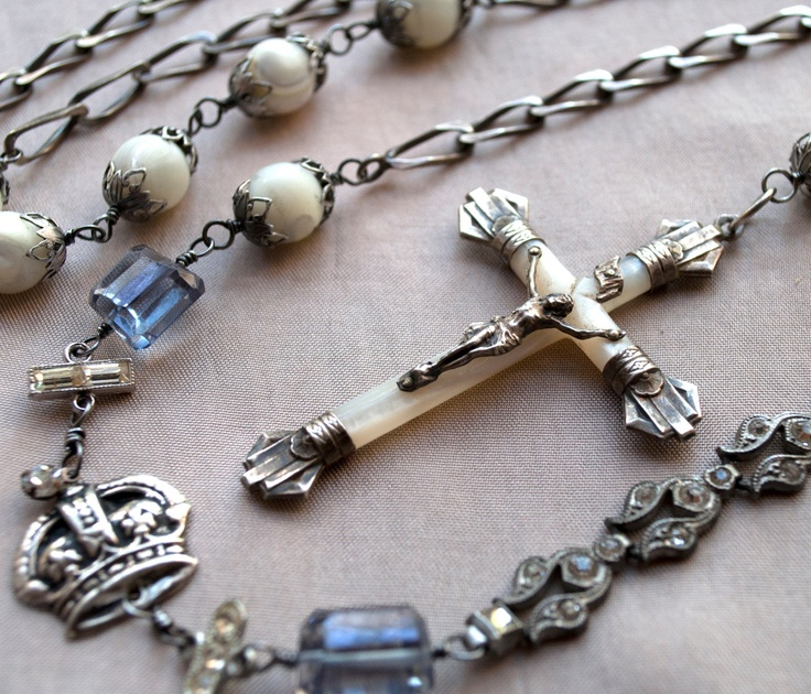 Undying Love / One of a Kind Original Art Antiques Assemblage Rosary Necklace