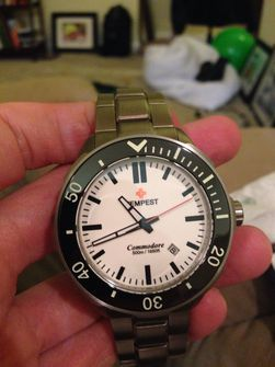Tempest Commodore white stick dial titanium watch for sale only $525 OBRO CONUS only Thumb 6