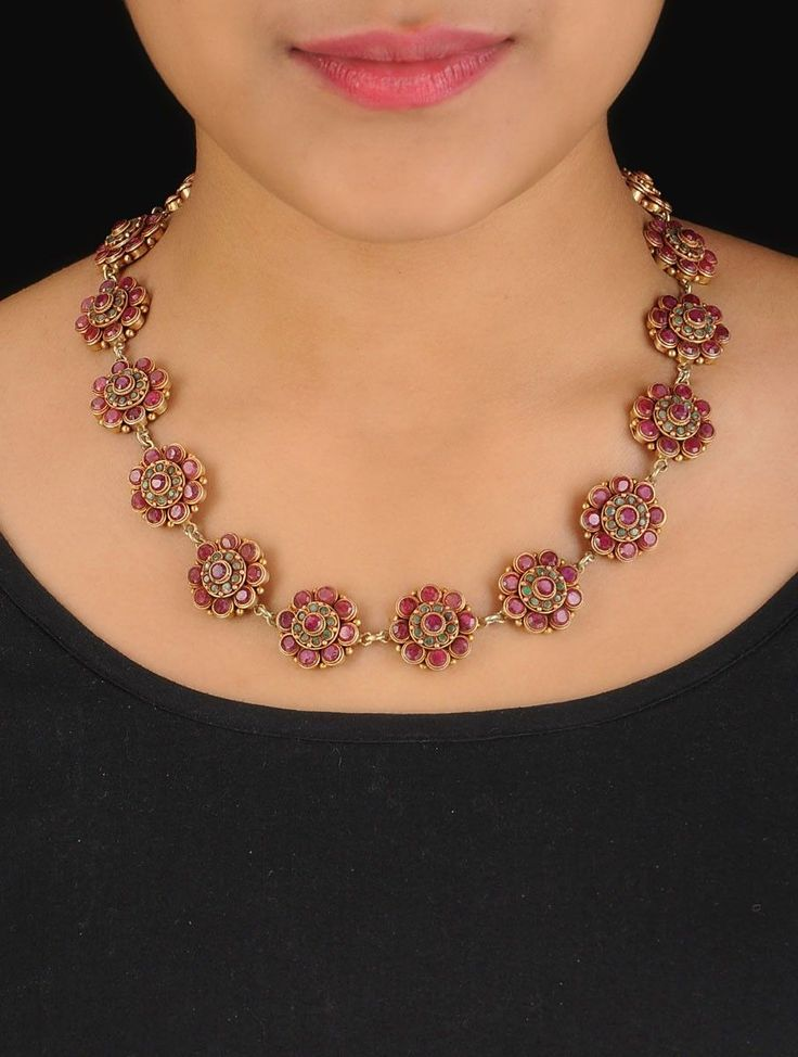 Buy Golden Maroon Turquoise Ethno Floral Silver Necklace 92.5% Sterling Semi Precious Stone Online at Jaypore.com