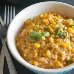 Roasted corn risotto  http://www.amuse-your-bouche.com/roasted-corn-risotto-with-smoked-paprika/