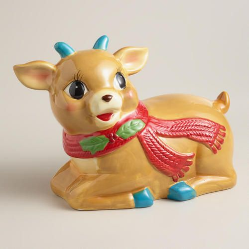 Vintage-Style Holiday Deer Ceramic Cookie Jar via Cost Plus World Market >> #WorldMarket Holiday Baking