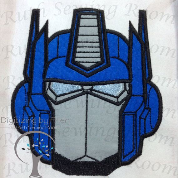 Transformers optimus prime face applique embroidery - Optimus prime dessin ...