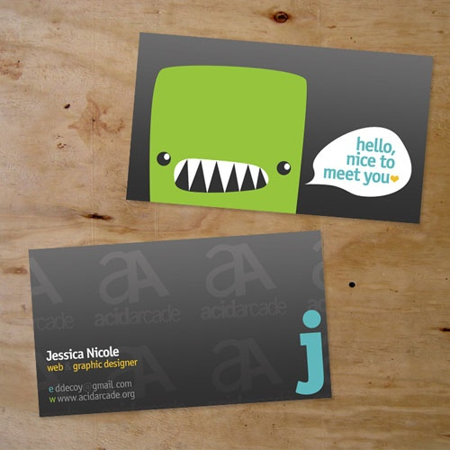 Examples of business cards using cartoon character