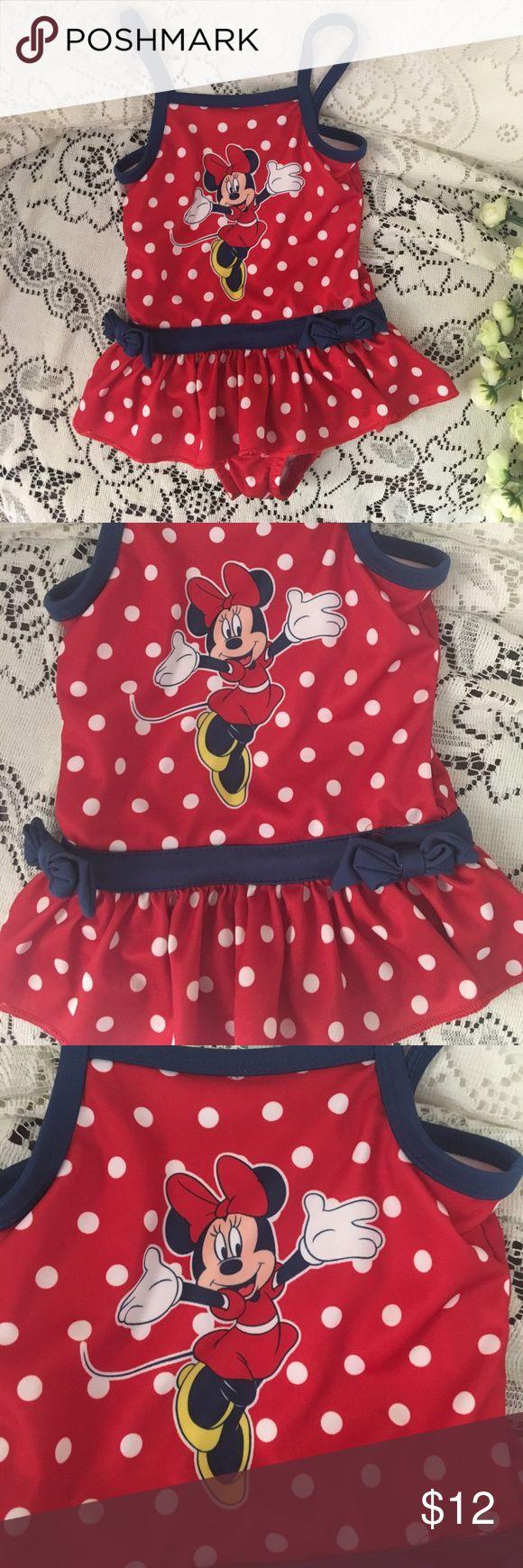 Disney red polka dot 2T one piece bathing suit Disney Minnie red polka dot one piece bathing suit size 2T Disney Swim One Piece