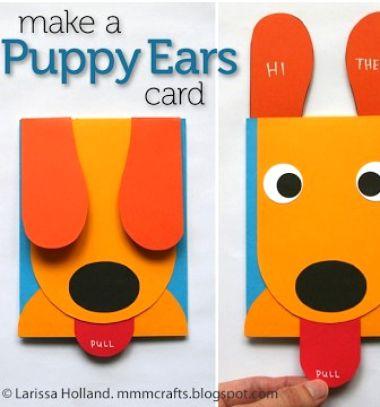 DIY Funny puppy ears card // Vicces mozgatható fülű kutyás képeslap (sablonnal) // Mindy - craft tutorial collection