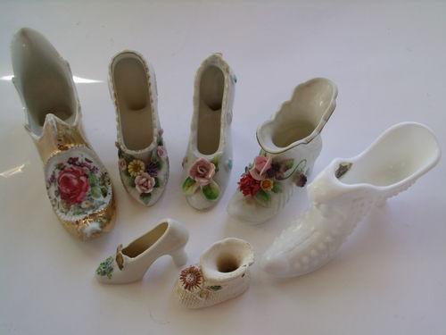 Antique Shoe Collection Of 7 Fenton Norcrest Lefton Hobnail Milk Glass Porcelian Glass