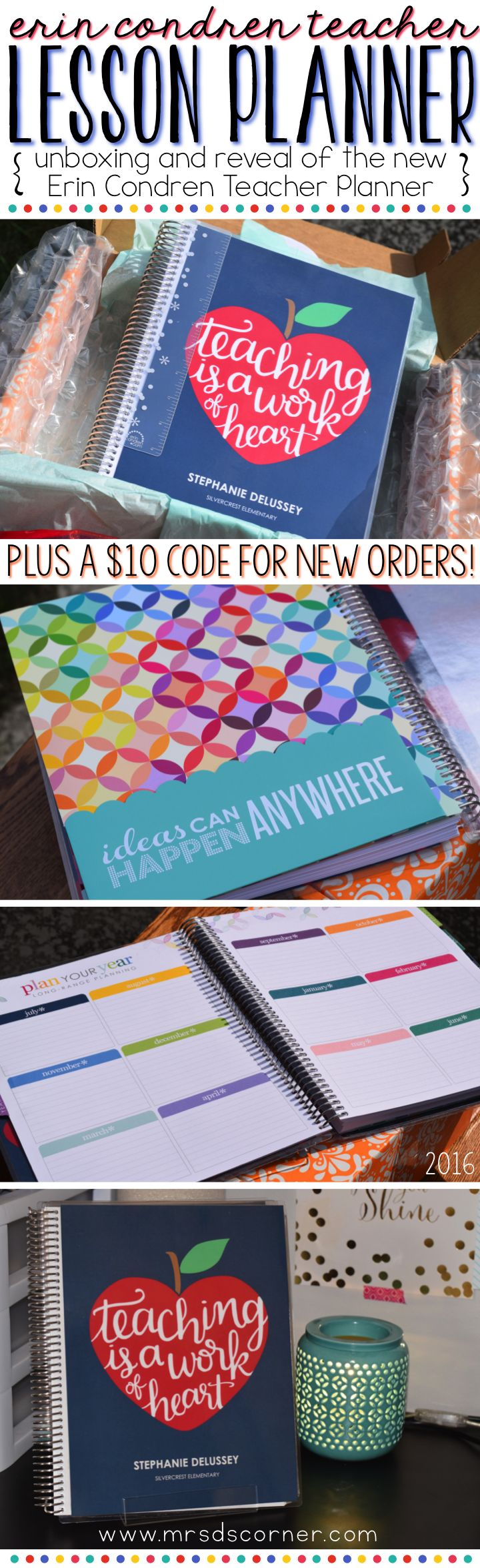Take a look inside the new Erin Condren Teacher Planner with a blog post at Mrs. D's Corner. Beautiful colors, inspirational quotes, and made just for teachers! Includes a $10 off code for new orders!